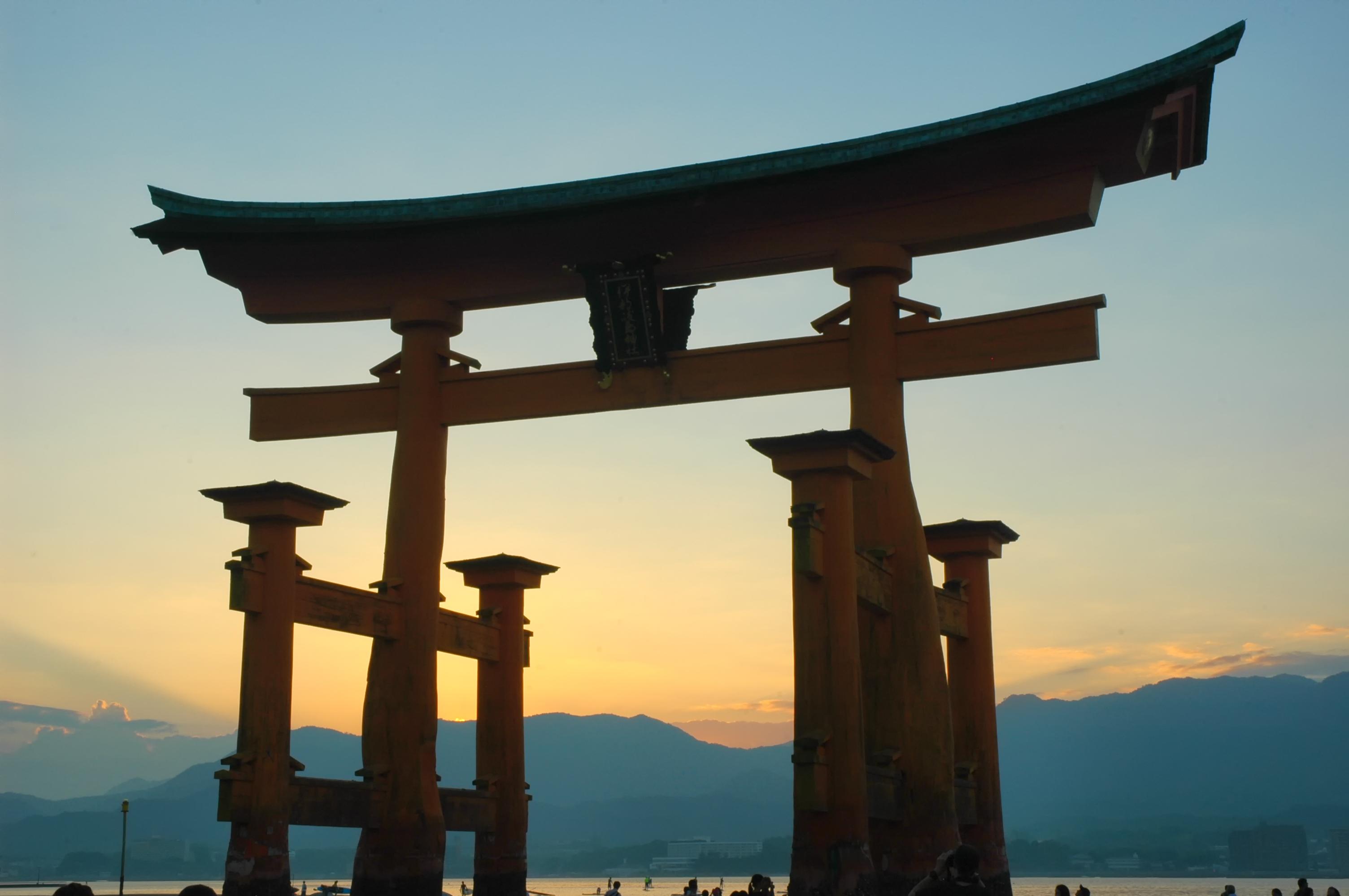 Miyajima's torii at sunset