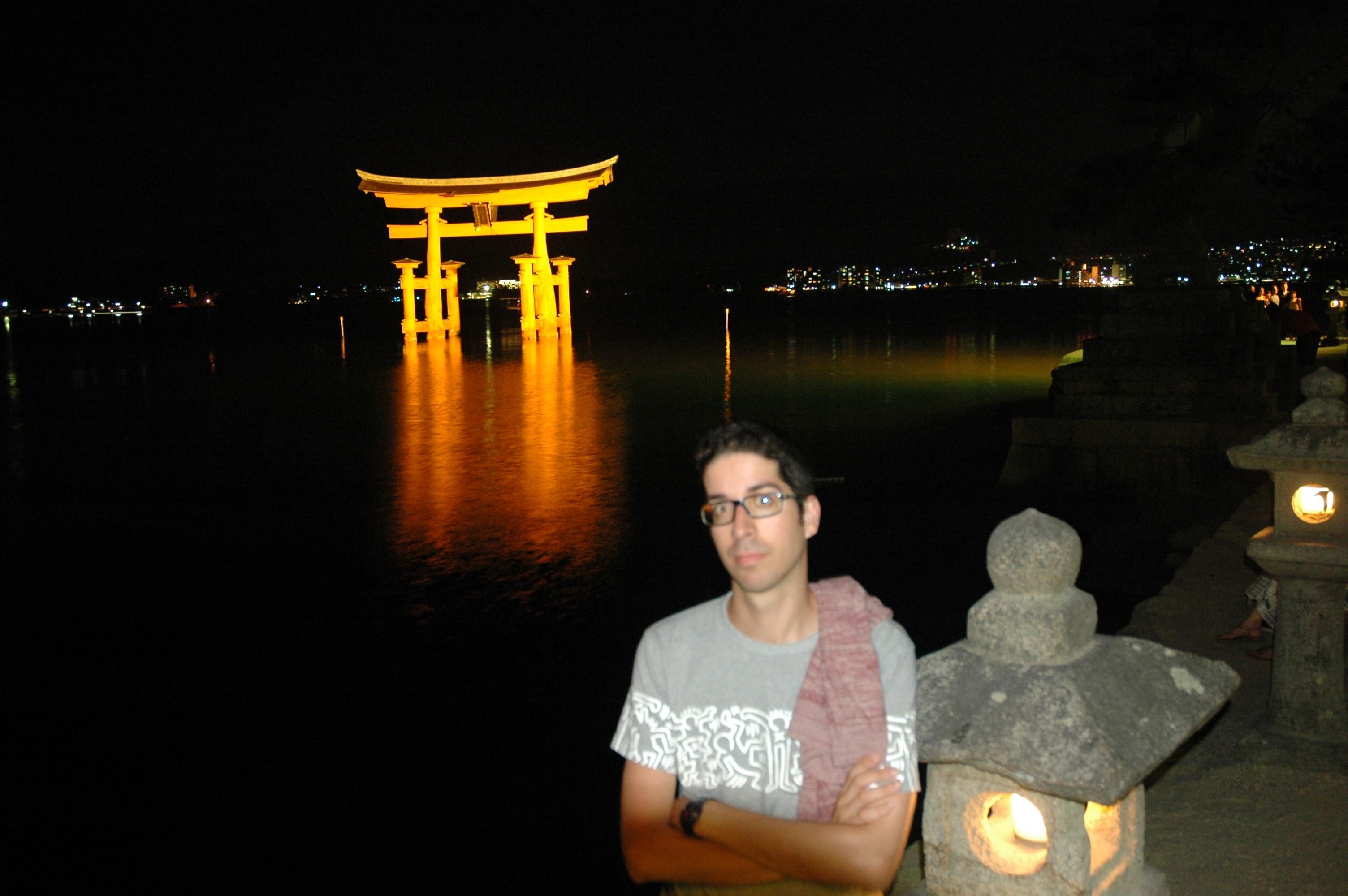 Miyajima torii at night